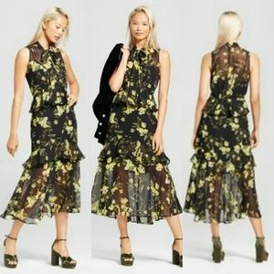 🆕 Who What Wear Floral Tiered Ruffle Midi Dress